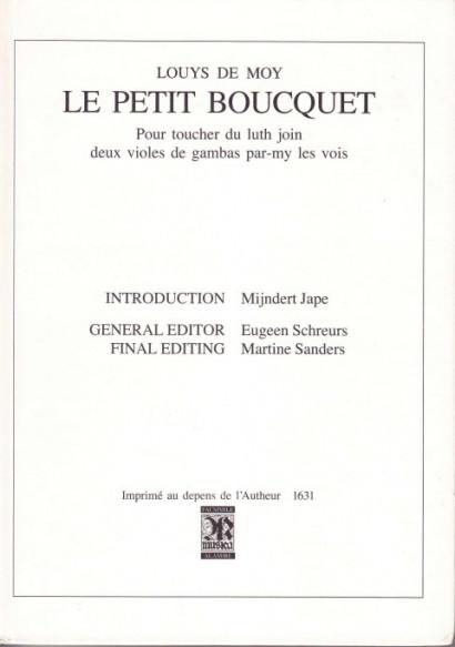 Moy, Louys de (nach 1631): Le petit Boucquet