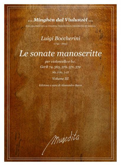 Boccherini, Luigi (1743–1805):<br>Le Sonate monoscritte<br>Vol. 3