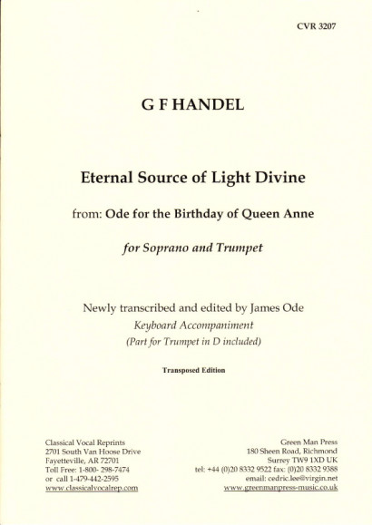 "Händel, Georg Friedrich: Eternal Sour Source of Light Divine ce aus ""Ode for the Birthday of Queen Anne"" - version for trumpet in D"
