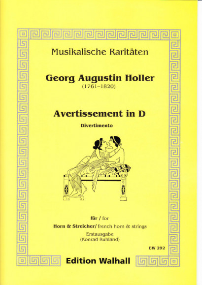 Augustin Holler (1744-1814): Avertissement in D - Partitur