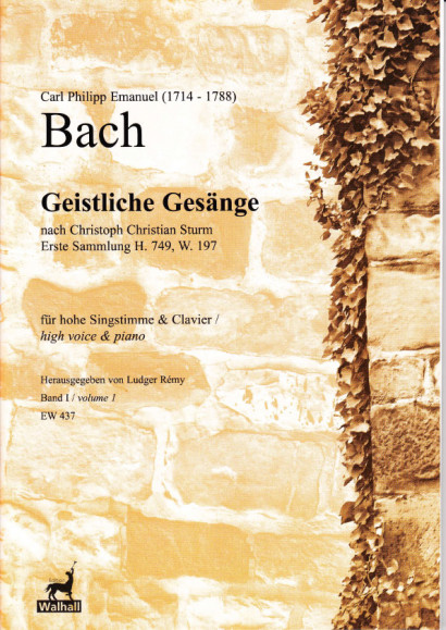 Bach, Carl Philipp Emanuel (1714-1788): Geistliche Gesänge nach Sturm - Band I