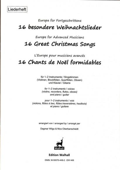 Europe for Advanced Musicians: 16 Great Christmas Songs<br>– Liederheft (Klassenmusizieren)