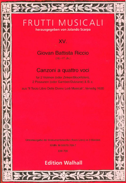 Riccio, Giovan Battista (16.-17. Jh.): Canzonen und Sonaten<br>- Band III
