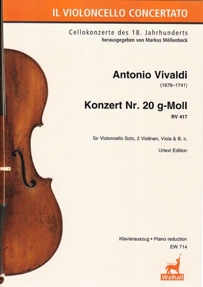 Vivaldi, Antonio (1678–1741): Konzert Nr. 20 g-Moll RV 417 <br> Klavierauszug