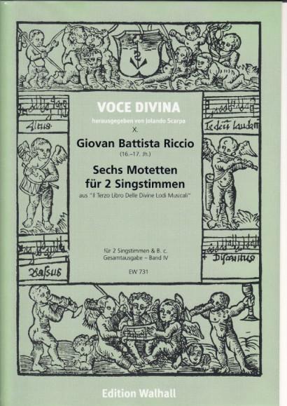 Riccio, Giovan B. (16.-17. Jh): Motetten für 2 Singstimmen<br>- Band II: 6 Motetten