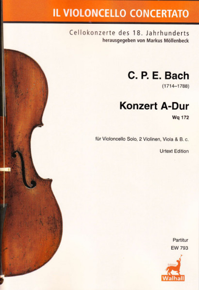 Bach, Carl Philipp Emanuel (1714–1788): Concert for Violoncello A Major Wq 172<br>– Additional parts (each)