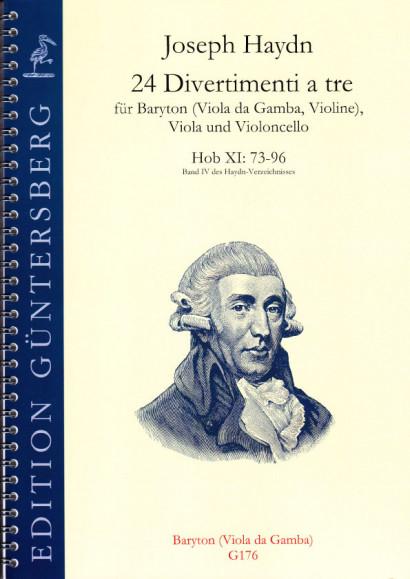 Haydn, Joseph (1732-1809): 24 Divertimenti a tre Nr. 73-96<br>- baritone or gamba (alto clef)