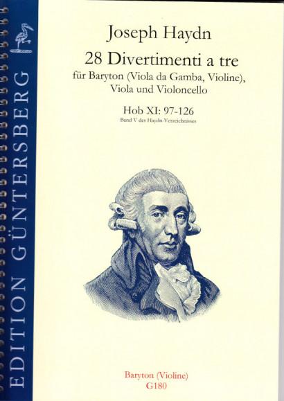 Haydn, Joseph (1732-1809): 28 Divertimenti a tre Nr. 97-126<br>- baritone or violin (60 p.)