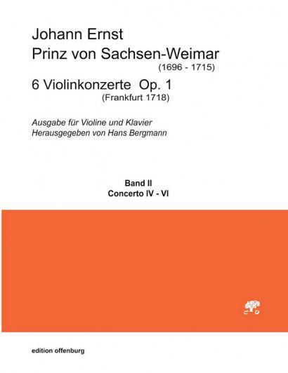 Johann Ernst, Prinz von Sachsen-Weimar (1696–1715): 6 Violinkonzerte op. 1<br>– Band II – Klavierauszug Konzerte 4–6