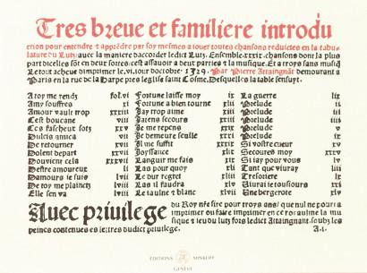 ATTAINGNANT, Pierre (c.1494–1552): [imprimeur/éditeur] Très brève et familière