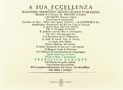 DURANTE, Francesco (1684-1755): Sonate per cembalo