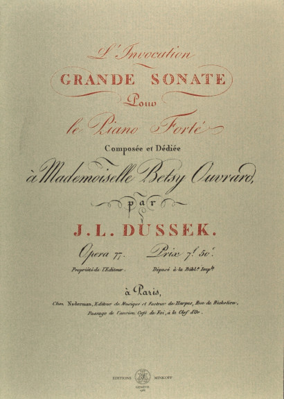 DUSSEK, Jan Ladislav (1760–1812): L'invocation, grande sonate