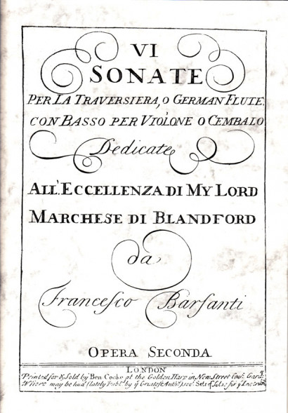 Barsanti, Francesco (1690–1772): 6 Sonate op. 2