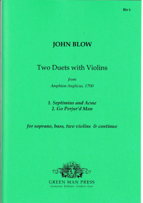 Blow, John (1649-1708): Two Duets with Violins