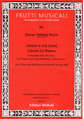 Riccio, Giovan Battista (16.-17. Jh.): Canzonen und Sonaten<br>- Band I