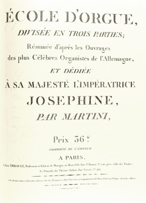 MARTINI, Johann Paul Aegidius (1741–1816): Ècole d'Orgue