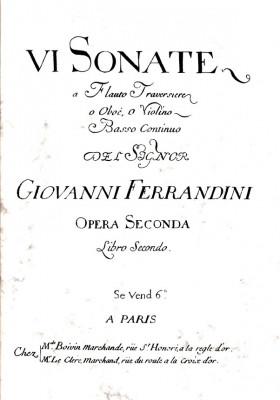 Ferrandini, Giovanni Battista (1710–1791): VI Sonate op. 2